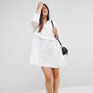 ASOS curve cotton mini smock shirt dress
